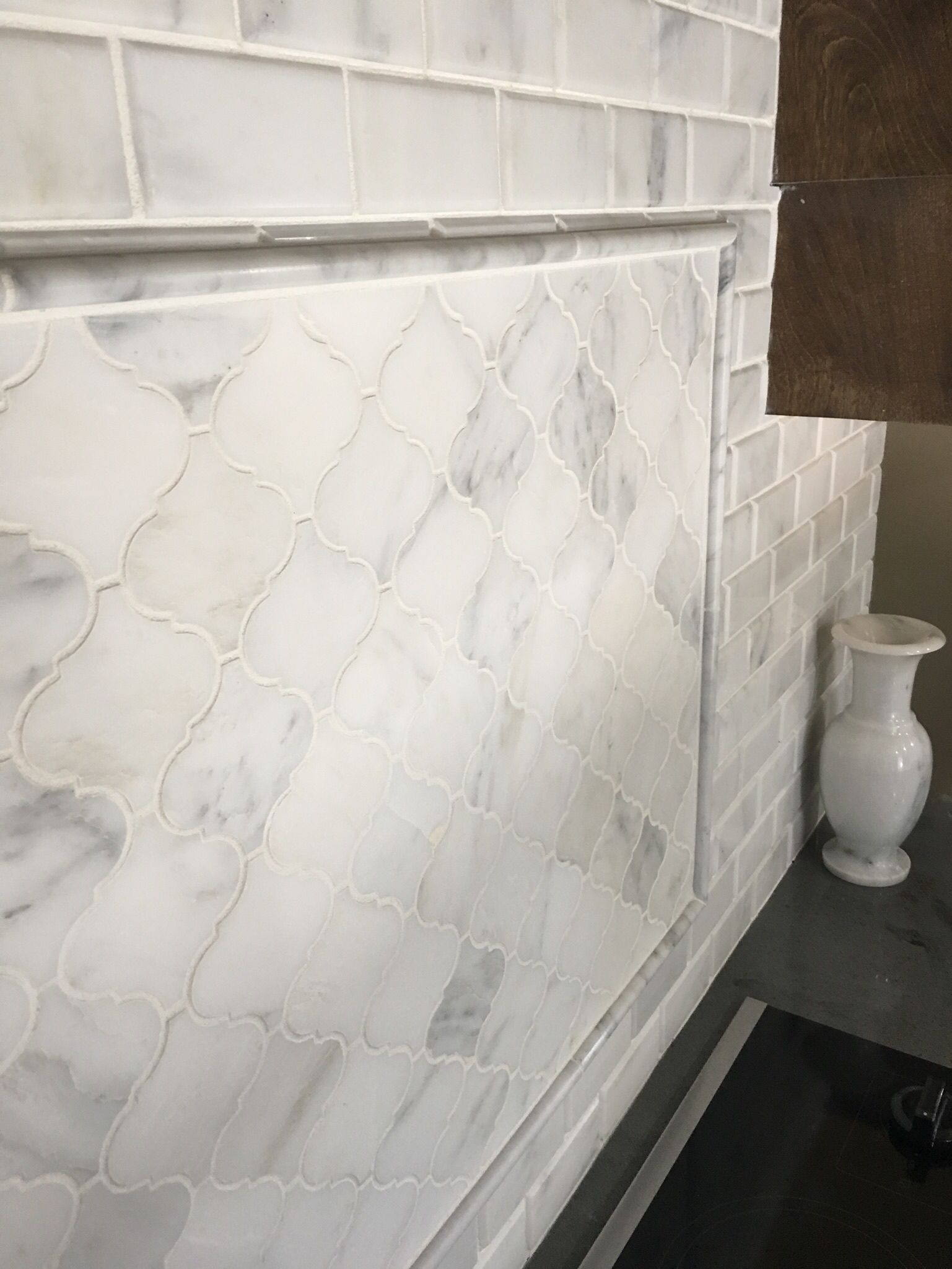 Arabesque Or Subway Tile Diy Kitchen Remodel Marble Backsplash