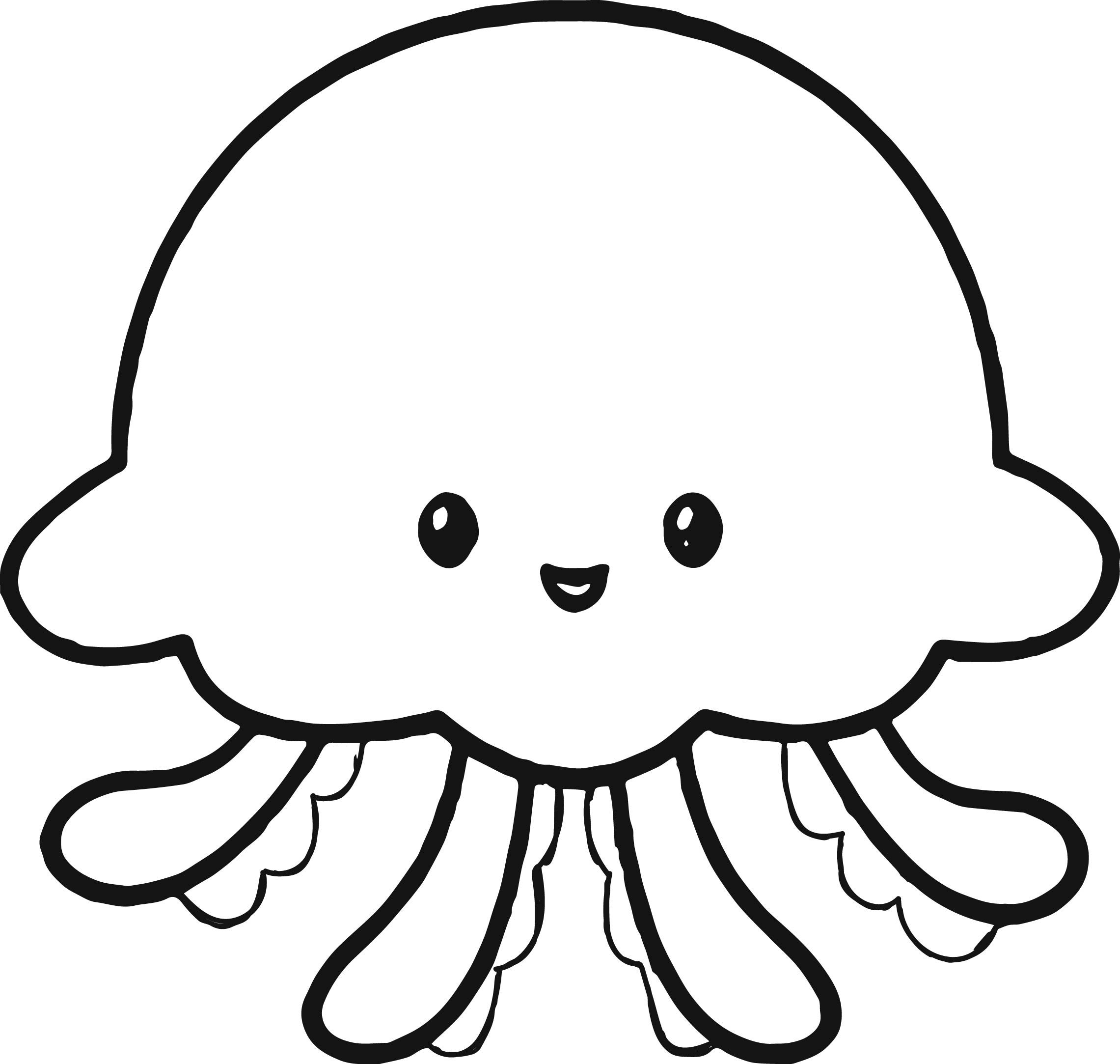 Awesome Cute Jellyfish Coloring Page Cute Drawings Cute Coloring Pages Fish Coloring Page