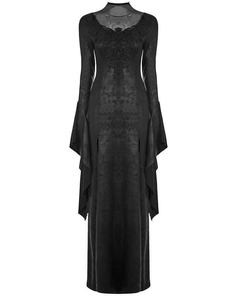 Punk rave gothic witch maxi dress long black cracked embroidered