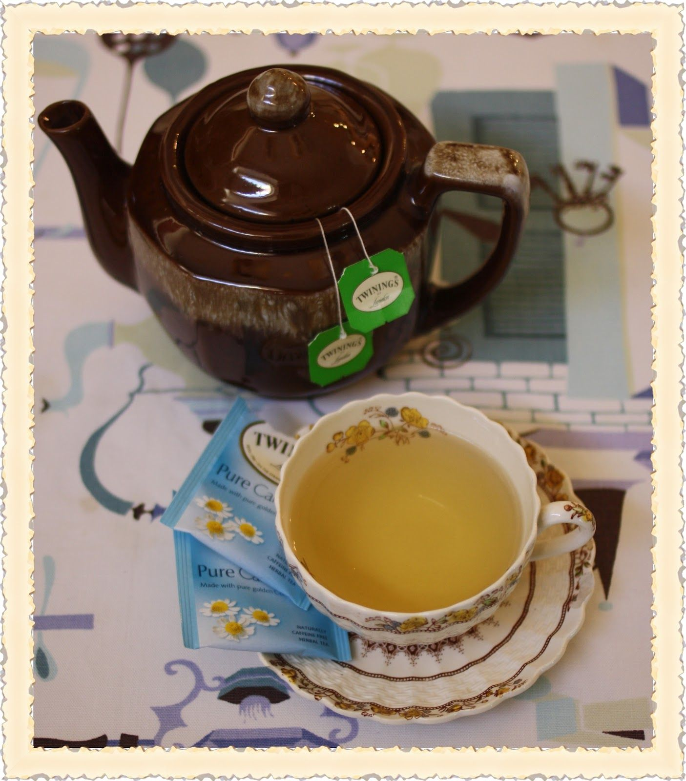 Fall tea - looks just like my Grandma's tea pot - and is that Irish Breakfast tea? Perfect!