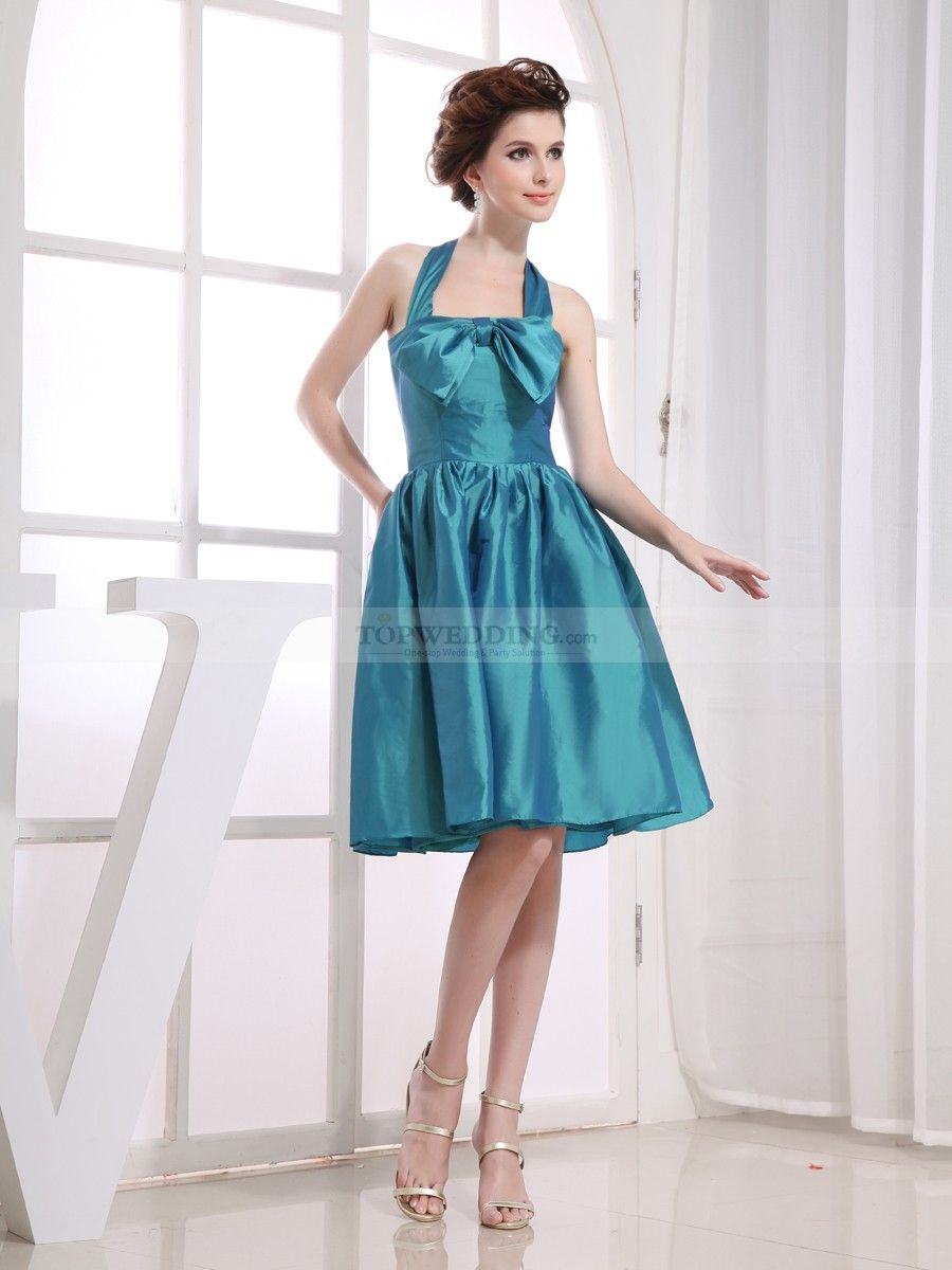 Halter a line taffeta mini homecoming dress with bowknot detail