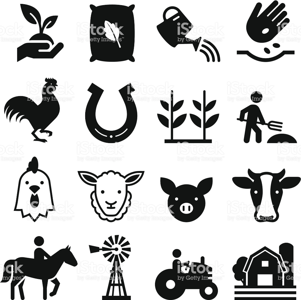 Farm And Agricultural Icons Professional Vector Icons For Your Print Free Vector Art Animal Silhouette Stock Vector