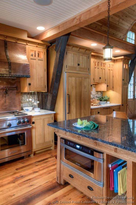 Timber Frame Craftsman Kitchen (Crown-Point.com, Kitchen-Design-Ideas.org)
