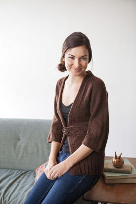 Belt Cardi Pattern - Knitting Patterns by Jenise Reid at KnitPicks. This has a cool built in belt with a little button tab closure