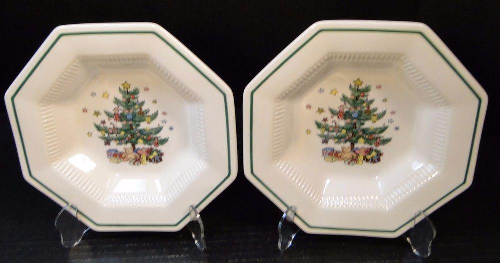 Christmas dinnerware & TWO Nikko Christmastime Soup Bowls 8 1/4
