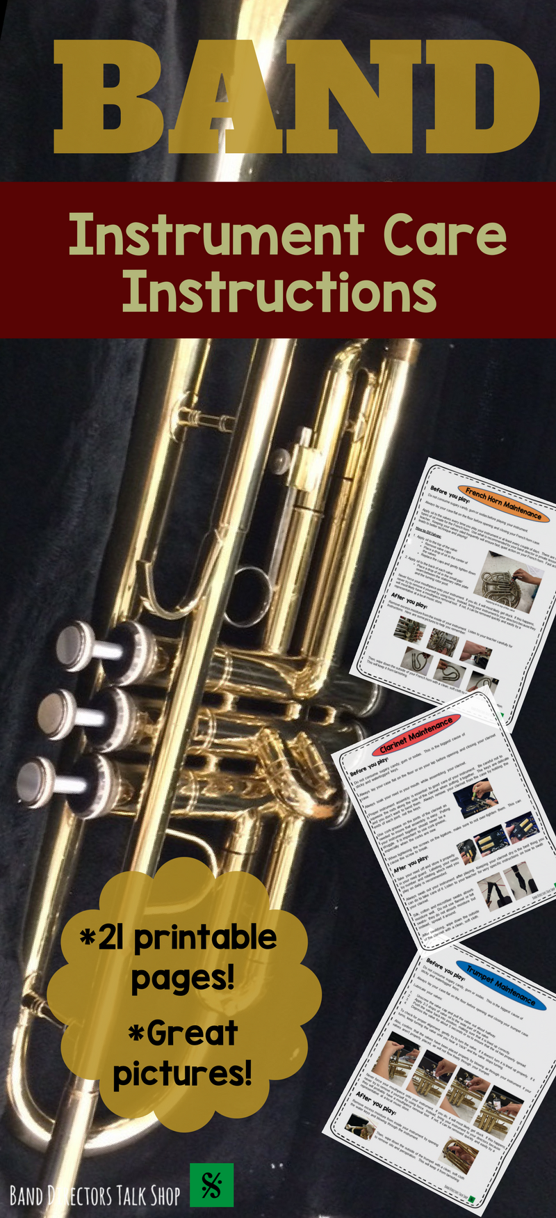 Click below for a comprehensive band instrument care and maintenance instructions pack! $12 https://www.teacherspayteachers.com/Product/Band-Instrument-Care-Instructions-Pack-3244816