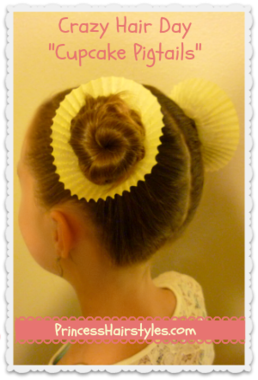 Give the girls little cupcakes for Wacky Hair Day at school.