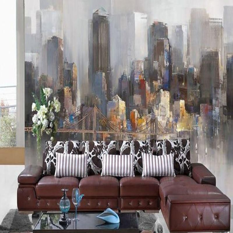 Homedesignideas Eu: Retro Hand-painted Wallpaper Mural Abstract European