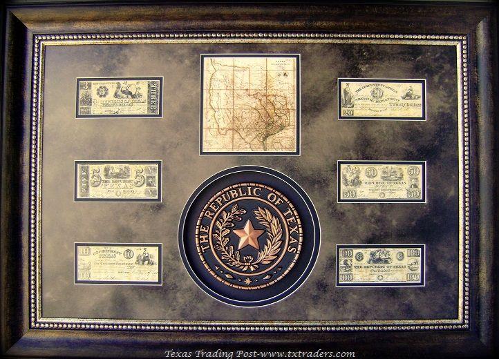 Framed Republic Of Texas Seal And Republic Of Texas Money Texas Flag Decor Rustic Furniture Texas Decor