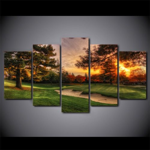 Framed Golf Course Sunset 5 Pcs Painting Printed Canvas Wall Art ...