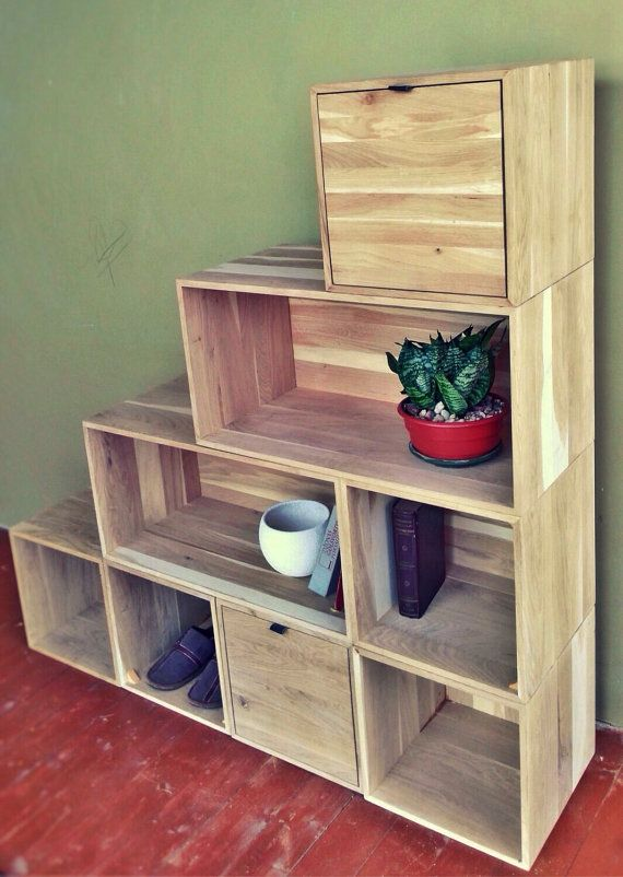 Oak Wood Box Crate Stackable Shelves By Skobowood On Etsy With Images Wooden Box Shelves