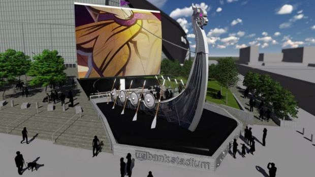 Proposed Viking ship by new stadium
