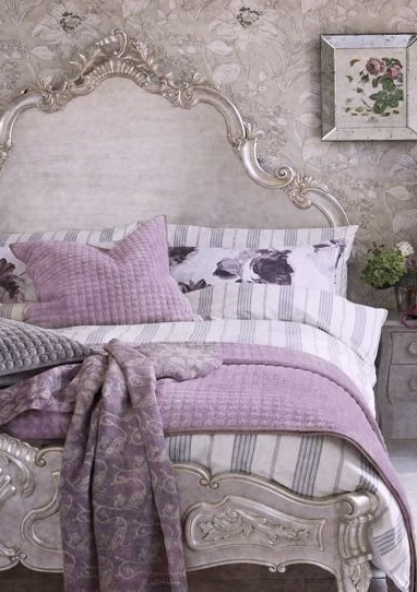 Beautiful French Inspired Purple & Matte Gold Bedroom