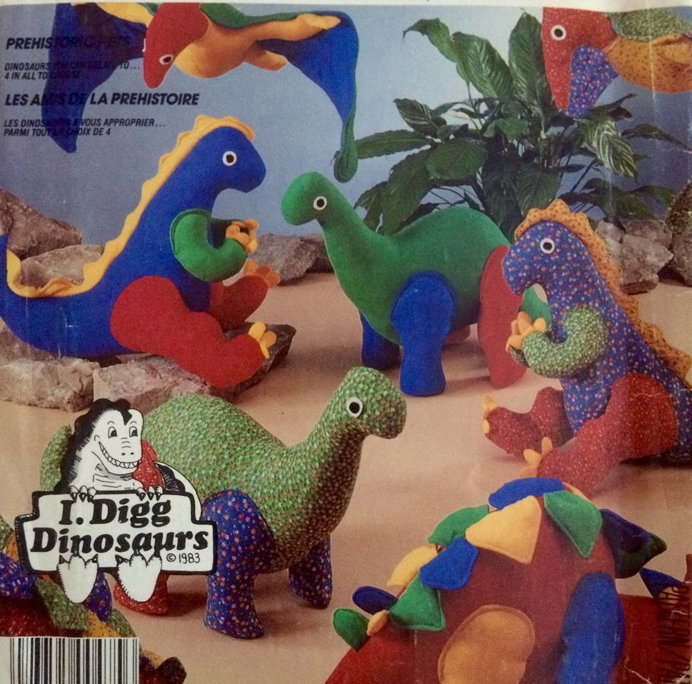 McCalls 817/2577 Pattern I Dig Dinosaurs Stuffed Toy Uncut