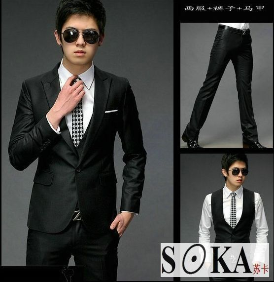 New Mens slim fit one button Three-Piece Suit(Coat Vest Pants ...