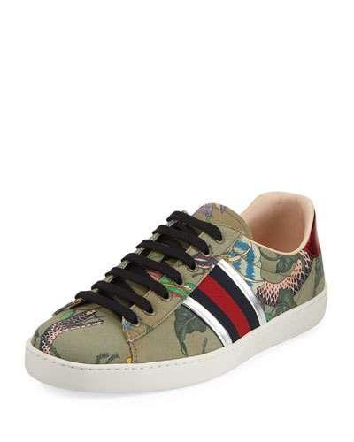 7ba1b1a78bb GUCCI NEW ACE CANVAS PRINT LOW-TOP SNEAKER.  gucci  shoes