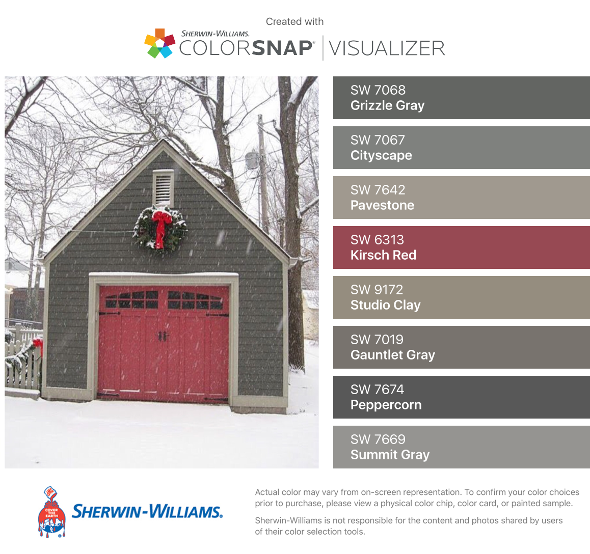 I Found These Colors With Colorsnap Visualizer For Iphone By Sherwin Williams Grizzle Gray Exterior Paint Colors For House House Paint Exterior House Colors