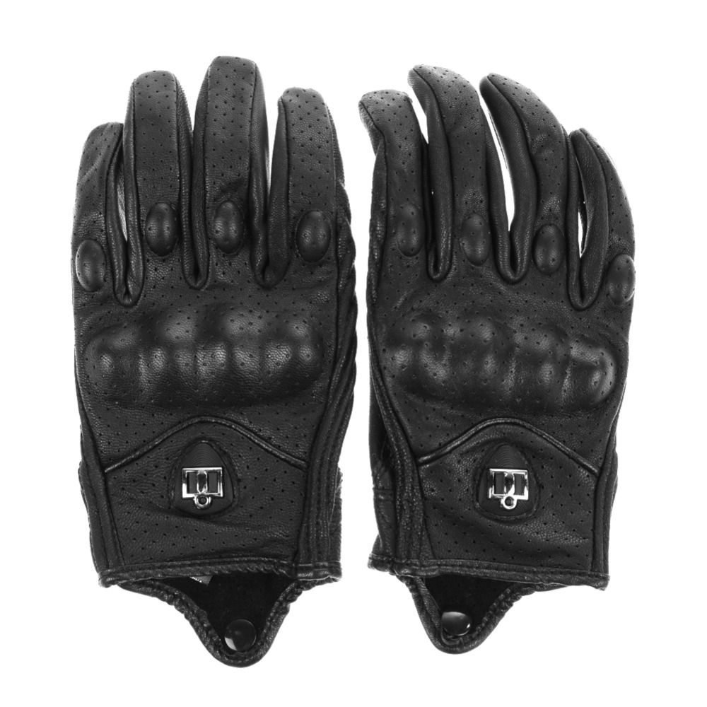 Motorcycle gloves bangalore - Men Motorcycle Gloves Outdoor Sports Full Finger Motorcycle Riding Protective Armor Black Short Leather Warm Gloves