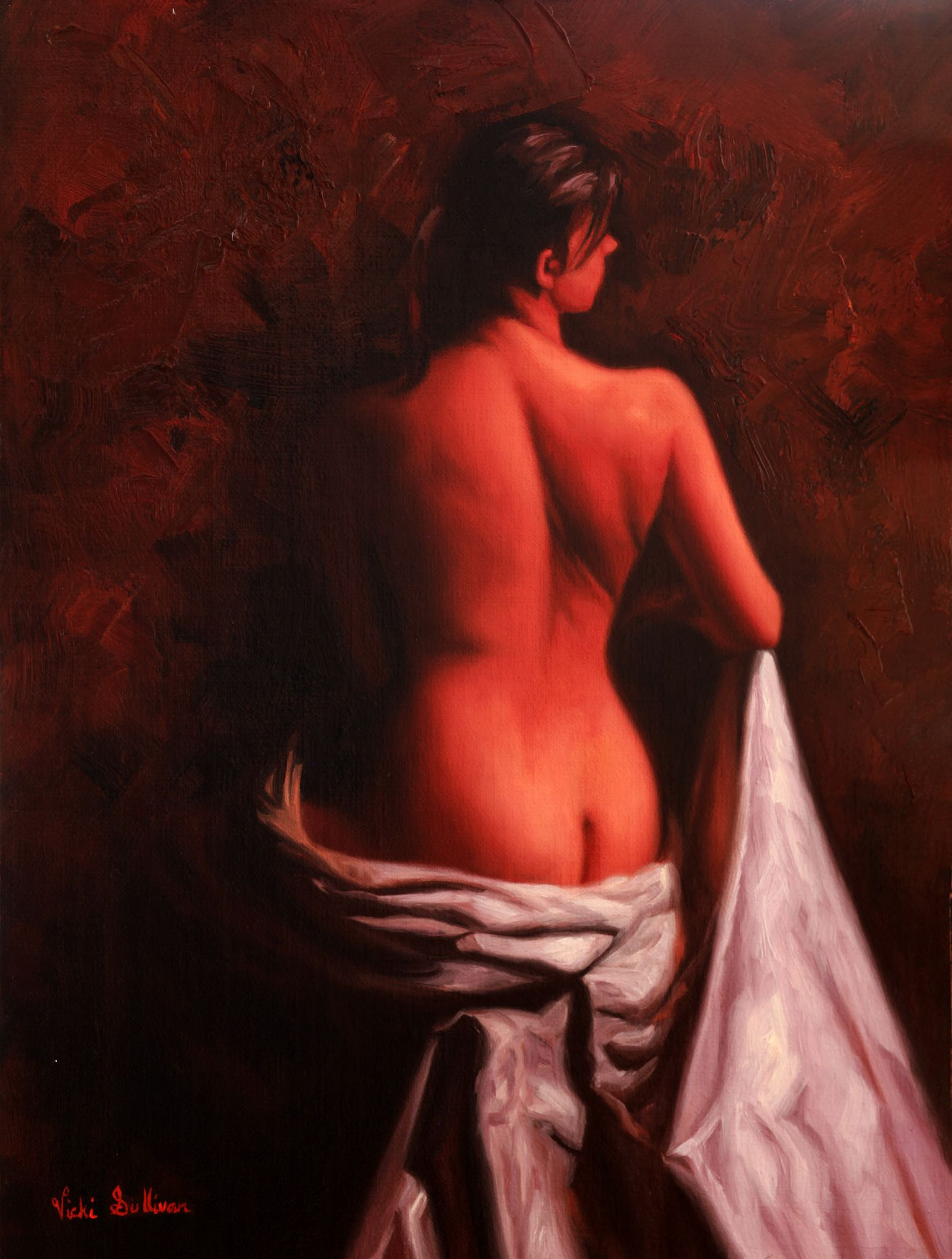 https://flic.kr/p/NB8XmH | Seated Nude by Vicki Sullivan www.vickisullivan.com | Seated Nude#oilonlinen#portrait#Australianportraitartist#Melbourneartist#Morningtonpeninsulaartist#contemporyrealism#figurativepainting#portraitart#commissionaportrait#portraitcommission#portraitbycommission