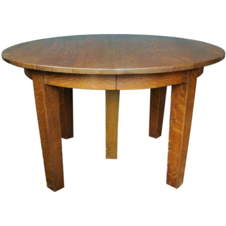 Mission Oak Round Dining Table By Gustav Stickley