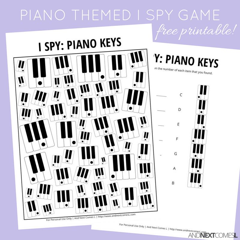 Piano Keys Themed I Spy Game {Free Printable for Kids} I