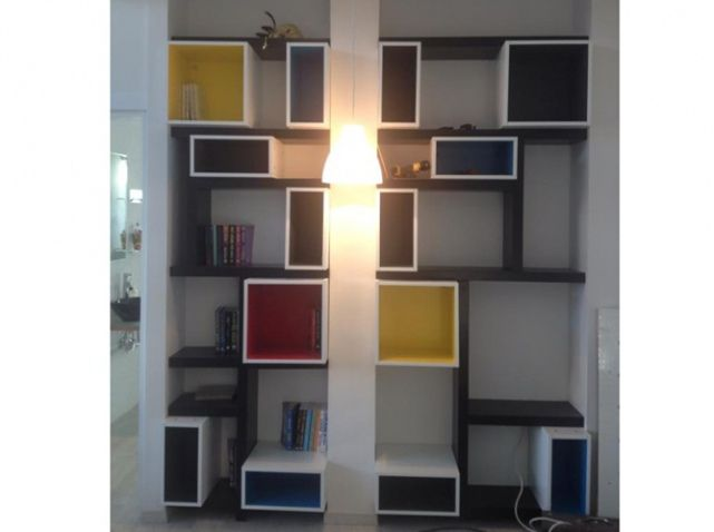 bibliotheque mondrian r alis e avec caissons ikea metod cuisine projet s paration de pi ces. Black Bedroom Furniture Sets. Home Design Ideas