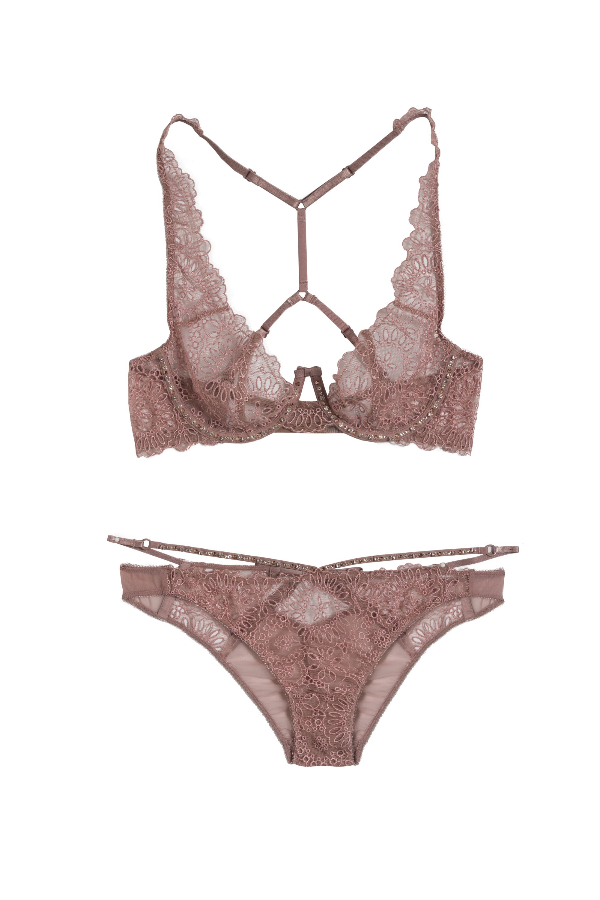 3c7f669f36da8 Victoria s Secret Designer Collection eyelet racerback bra and cheekini  with Swarovski crystals in the Crystal color and Crystal Rose Gold Metallic  effect.