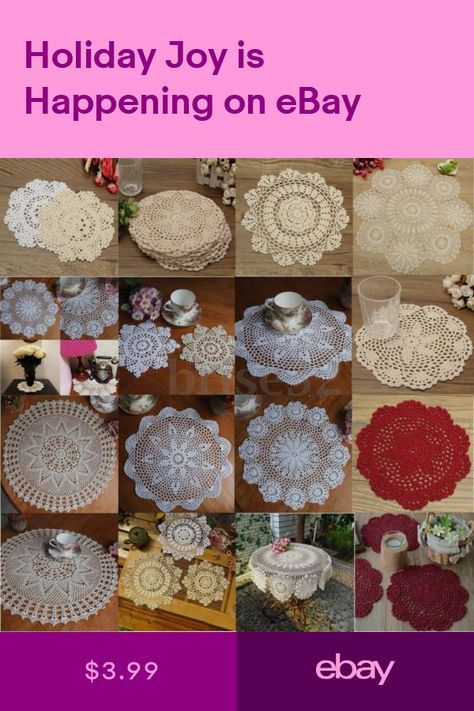 Hand Crocheted Cotton Yarn Round Lace Doily Mat Vintage Flower Coasters Craft