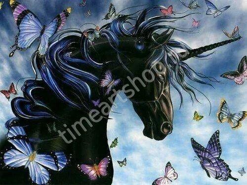 Единорог и бабочки, алмазная мозаика (алмазная вышивка ...