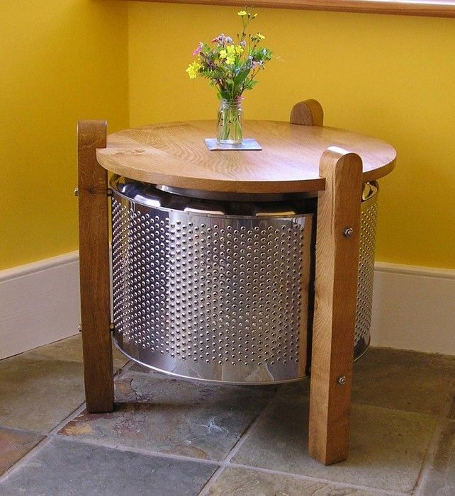 Washing Machine Drum And Oak Coffee Table. This Is So Cool!