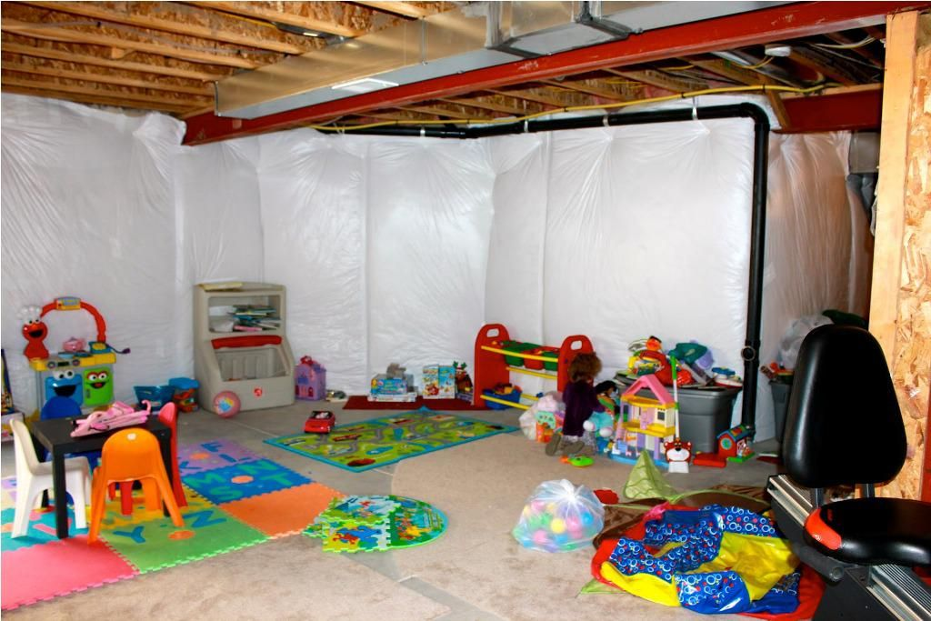 Best Unfinished Basement Ceiling Ideas on a Budget   Unfinished basement decorating. Colorful playroom. Unfinished basement playroom