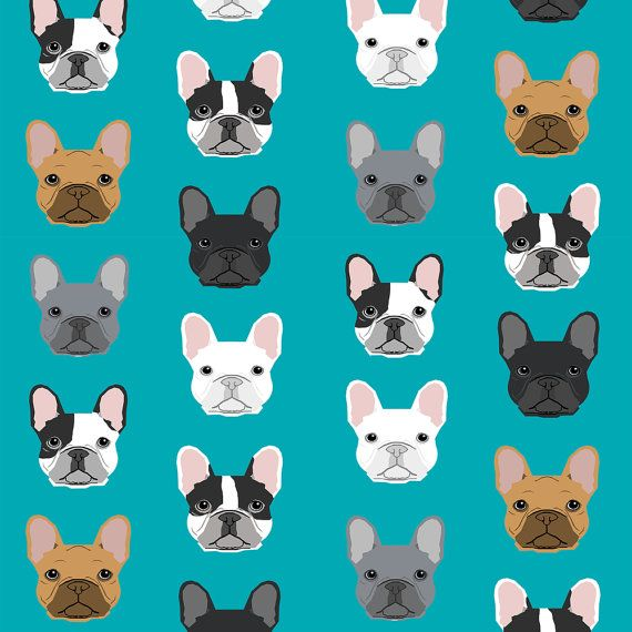 Blue Green Frenchie Fabric French Bulldog Head By Spoonflower