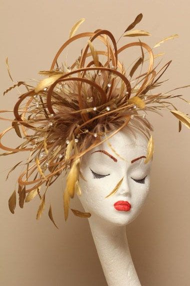 Large Gold Diamante Feather Fascinator Hat by MaighreadStuart 8d79724e0a8