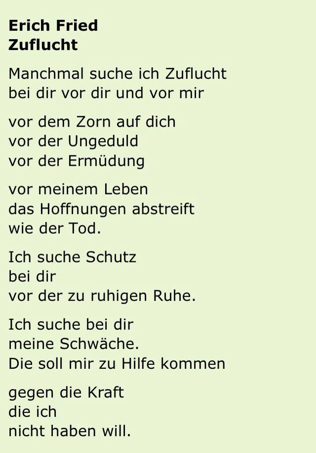 Zuflucht Erich Fried Lyrik Nachdenkliche Sprüche Und