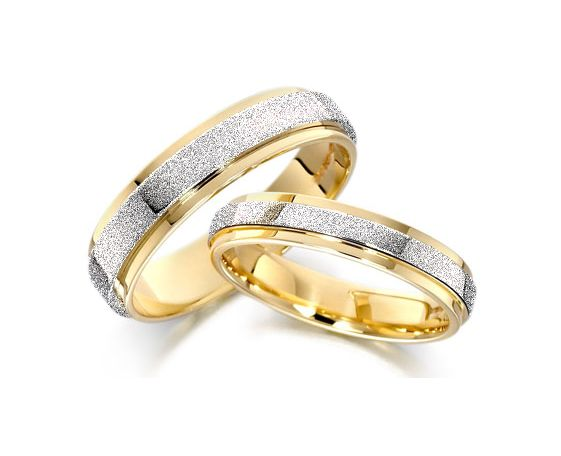 frosted two tone gold plated titanium wedding bands - Discounted Wedding Rings