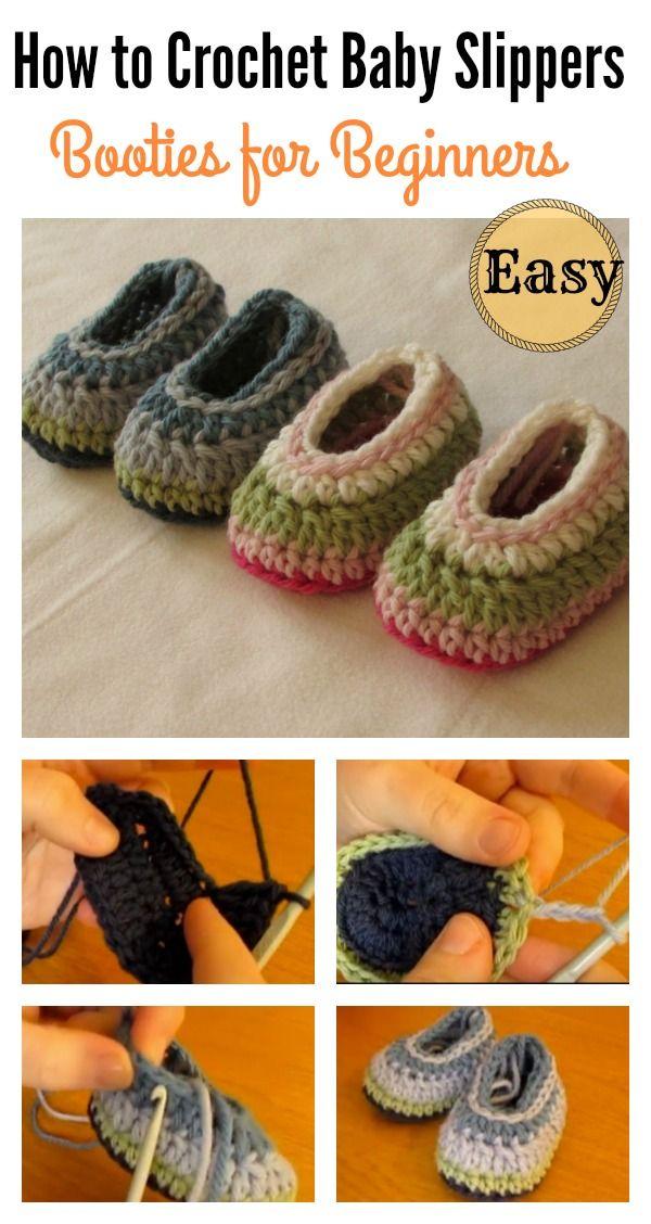 How to Crochet Easy Baby Slippers for Beginners | Häkeln und Stricken