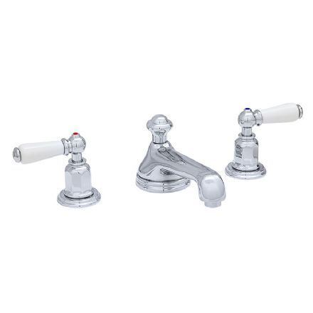 3705 Perrin  Rowe Three Hole Wall Basin Tap Set With Low Profile