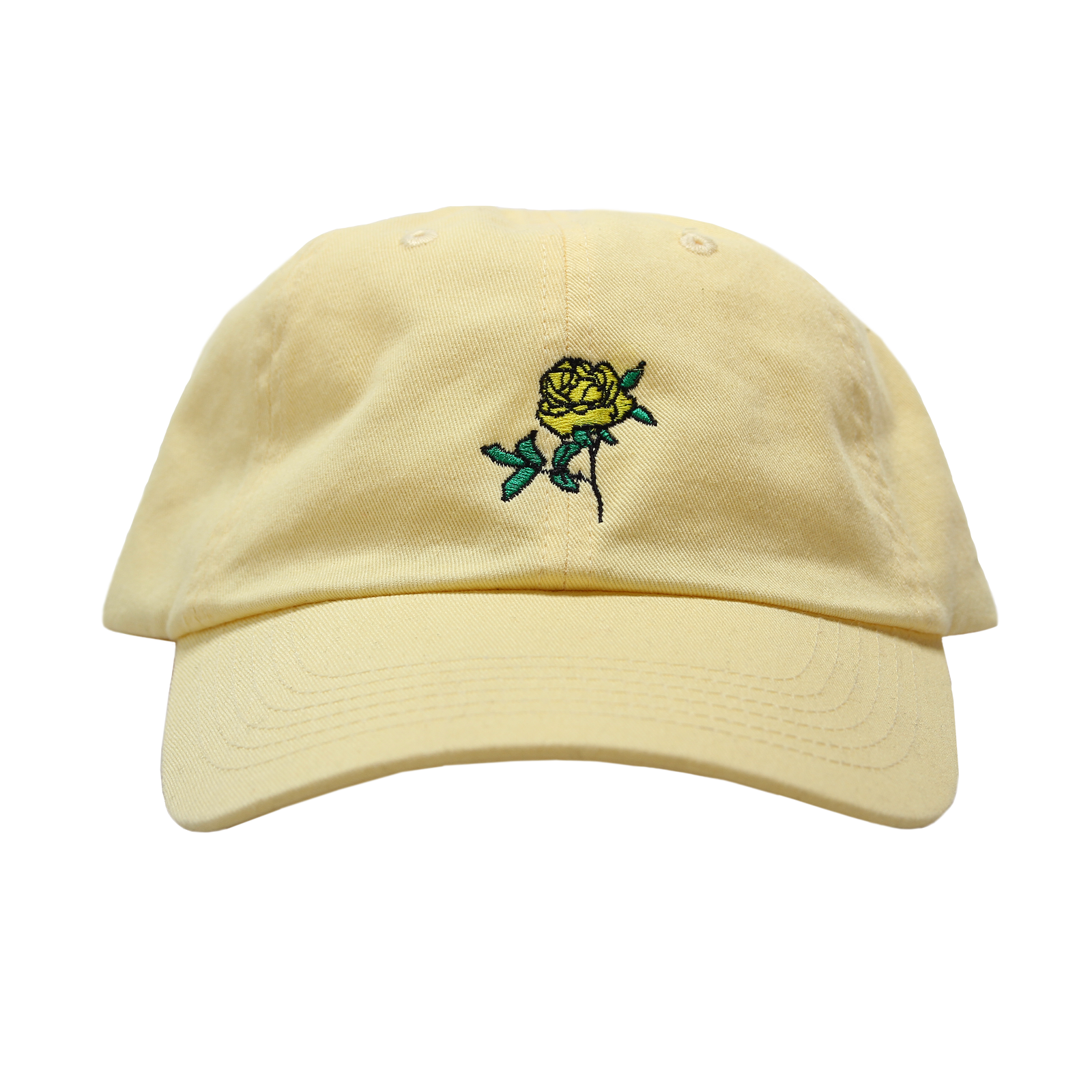 eea1e74385e Yellow dad hat featuring an embroidered yellow rose with Lemonade s  Anniversary date embroidered on back.