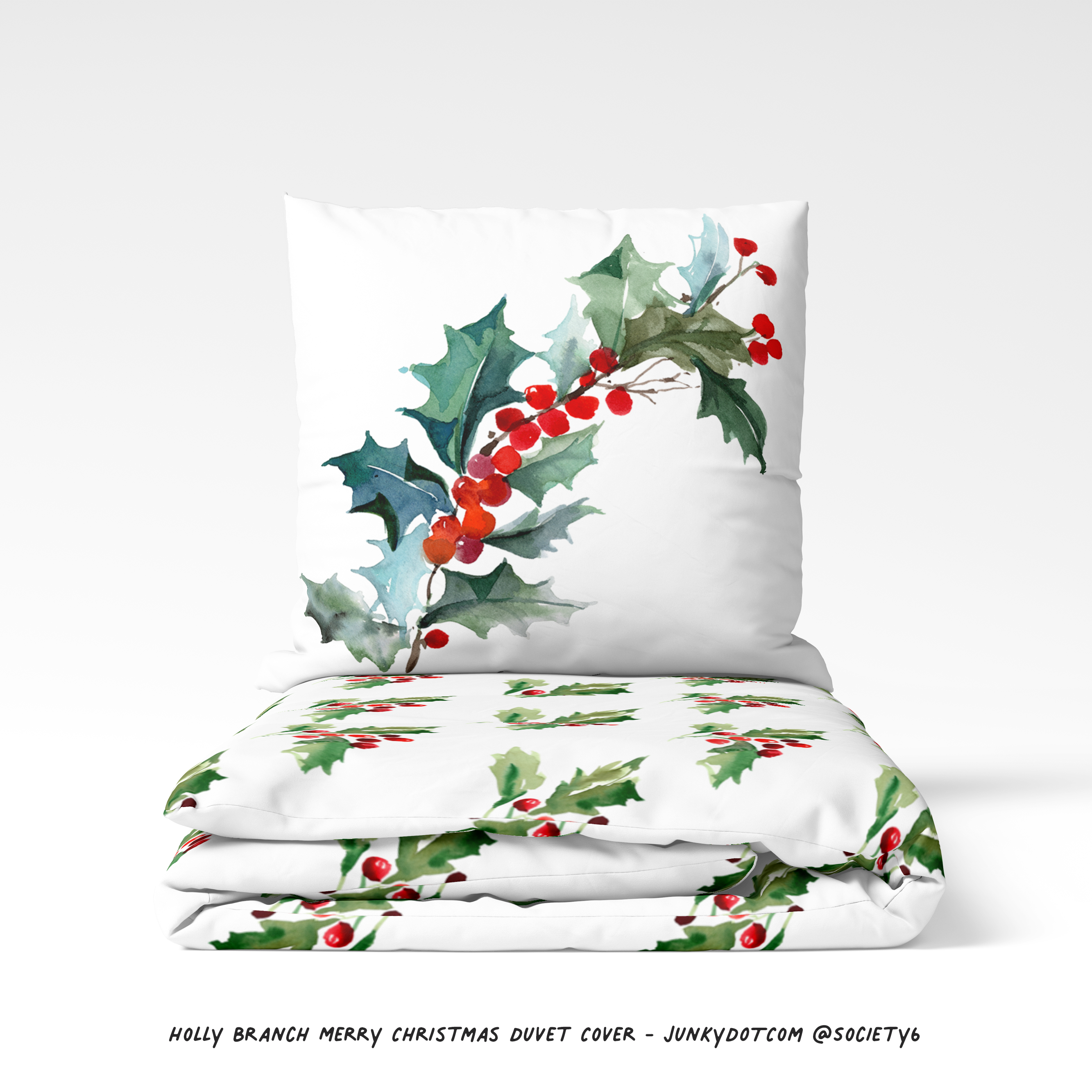 Holly Branch Merry Christmas Duvet Cover . . . #society6 #christmas #duvetcover #merrychristmas #holly #watercolor #nature #junkydotcom #creatsy #christmasduvetcover #rustic #hollywithberries #instachristmas