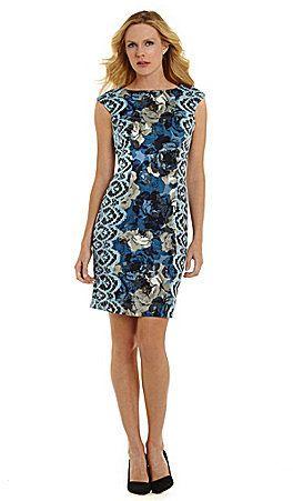 Dillard's - London Times Floral-Print Sheath Dress ...