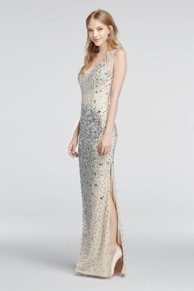 abba02af95 Crystal Bead Encrusted Illusion V-Neck Prom Dress - Nude