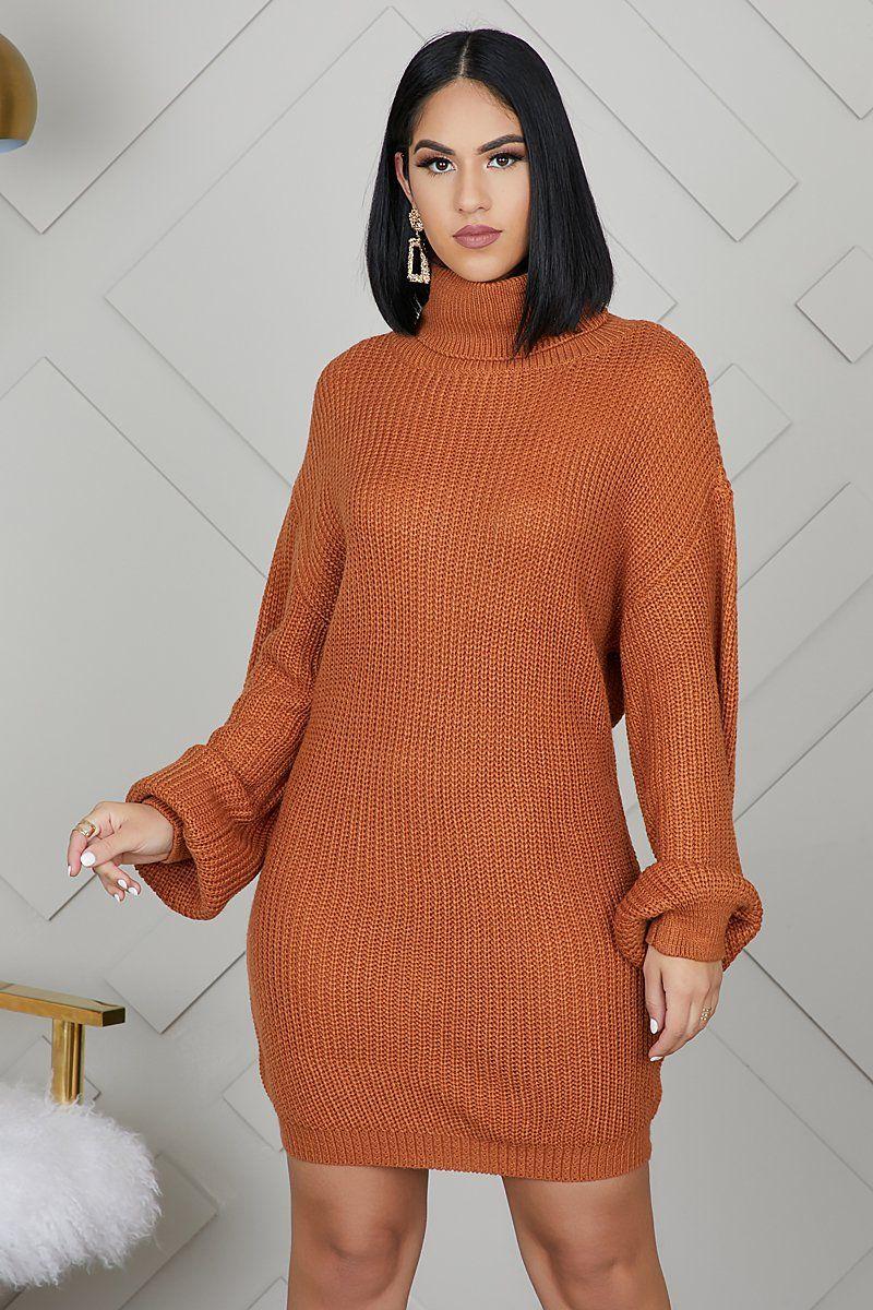 Oversized Turtleneck Sweater Dress (Rust) 2