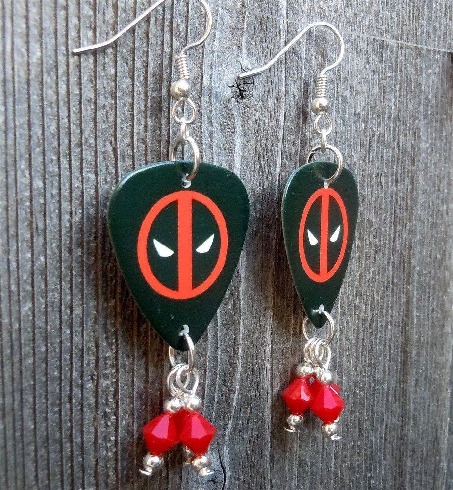 Deadpool emblem guitar pick earrings with red swarovski crystal