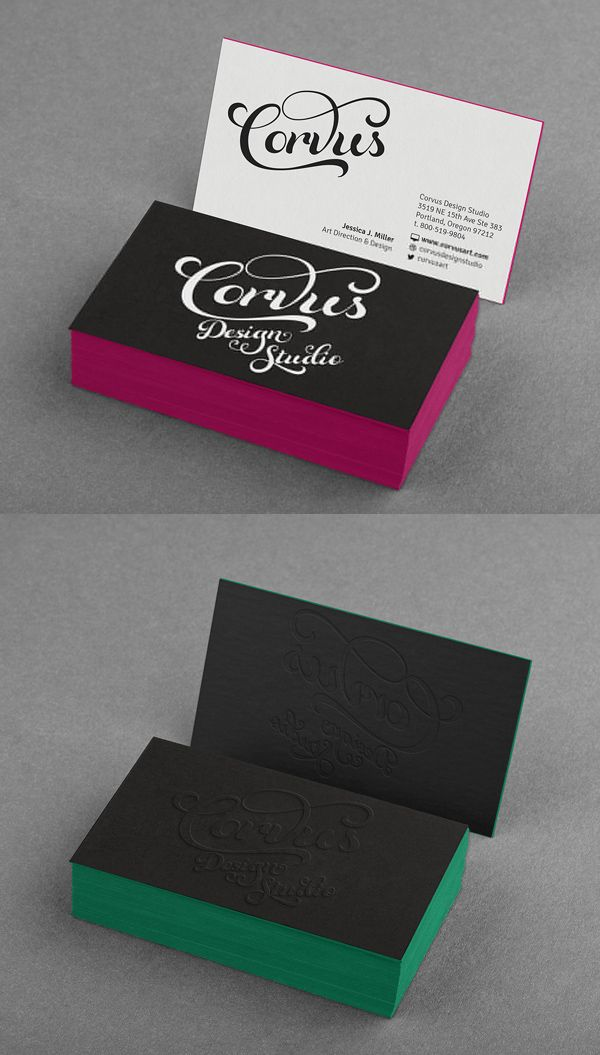 Free Embossed Colored Edge Black Business Card Mockup #freepsdfiles ...