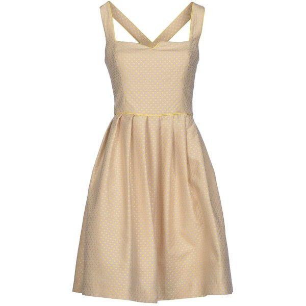 Maison Olivia Short Dress (430 BRL) ❤ liked on Polyvore featuring dresses, beige, pink dress, short dresses, deep v-neck dress, jacquard dress and beige cocktail dress