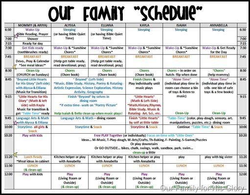 daily family schedule template