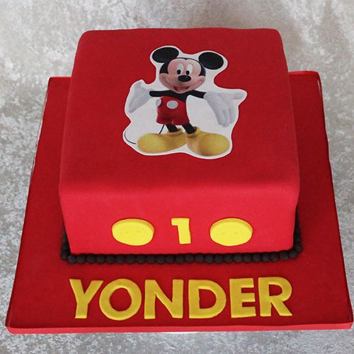 mickey mouse birthday cake square