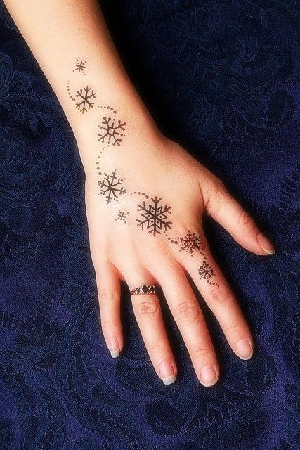 Snowflake tattoos on hand, but I would want it up my side. | Tattoo ...