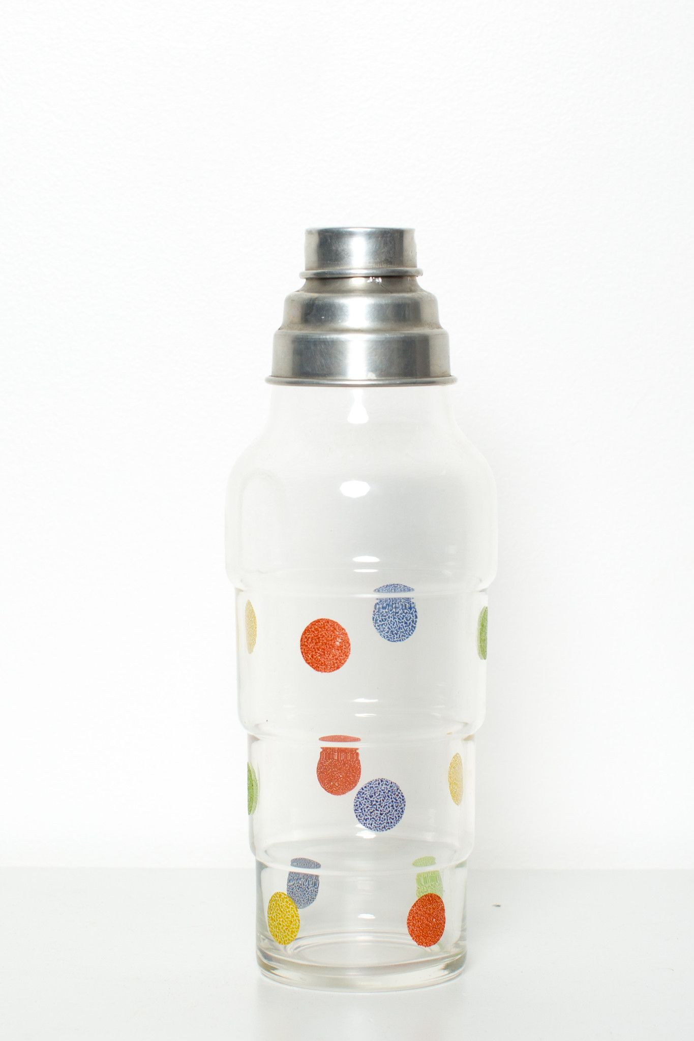 Retro Glass Cocktail Shaker With Tin Lid and Strainer