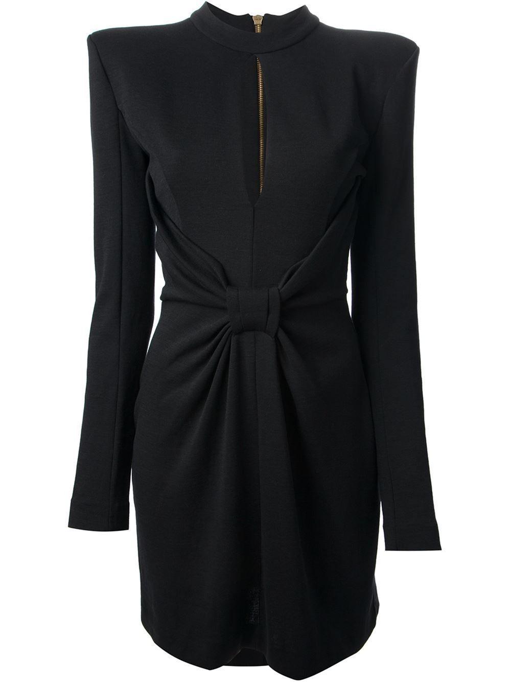 c25f37708ad Balmain Black Gathered Bow Wool Dress